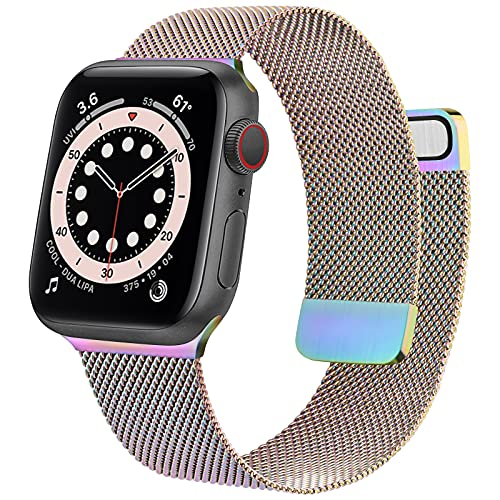 Mugust Metal Band Compatible with Apple Watch Band 38mm 40mm 42mm 44mm, Stainless Steel Mesh Strap Replacement for iWatch Series 6 5 4 3 2 1 SE (Colorful, 38mm/40mm)