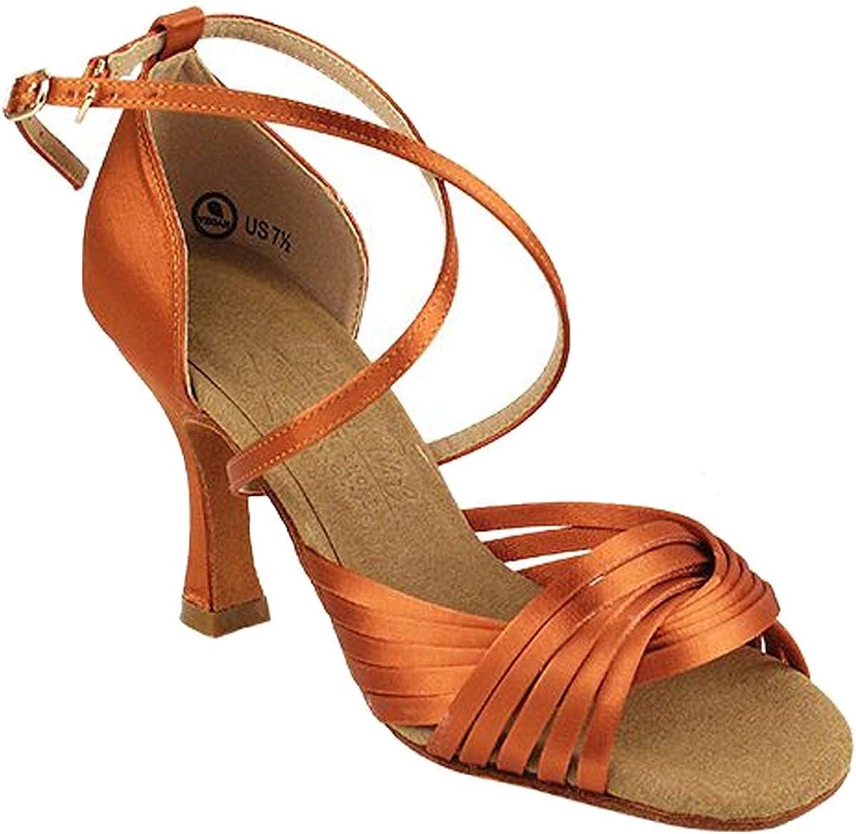 Women's Ballroom Dance Shoes Tango Wedding Salsa Dance Shoes Dark Tan Satin S1001EB Comfortable - Very Fine 3