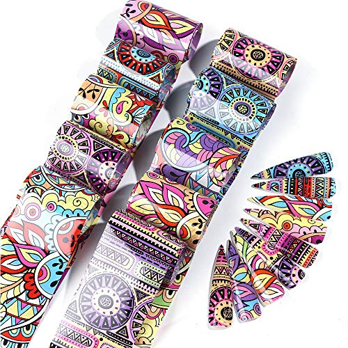 Macute Nail Foil Transfer Stickers Nails Supply Foil Transfers 10 Types Colorful Geometry Nail Foils Set Nail Art Flower…