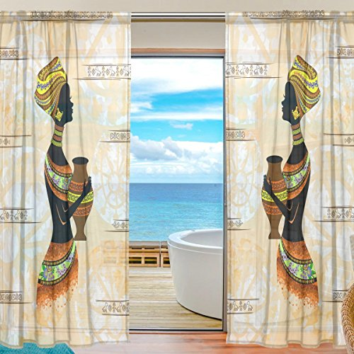ALAZA Voile Sheer Window Curtain Ethnic African Black Woman Door Way Tulle Curtain Drapes Panels for Living Room Bedroom Kitchen 55x78 inch, Set of 2