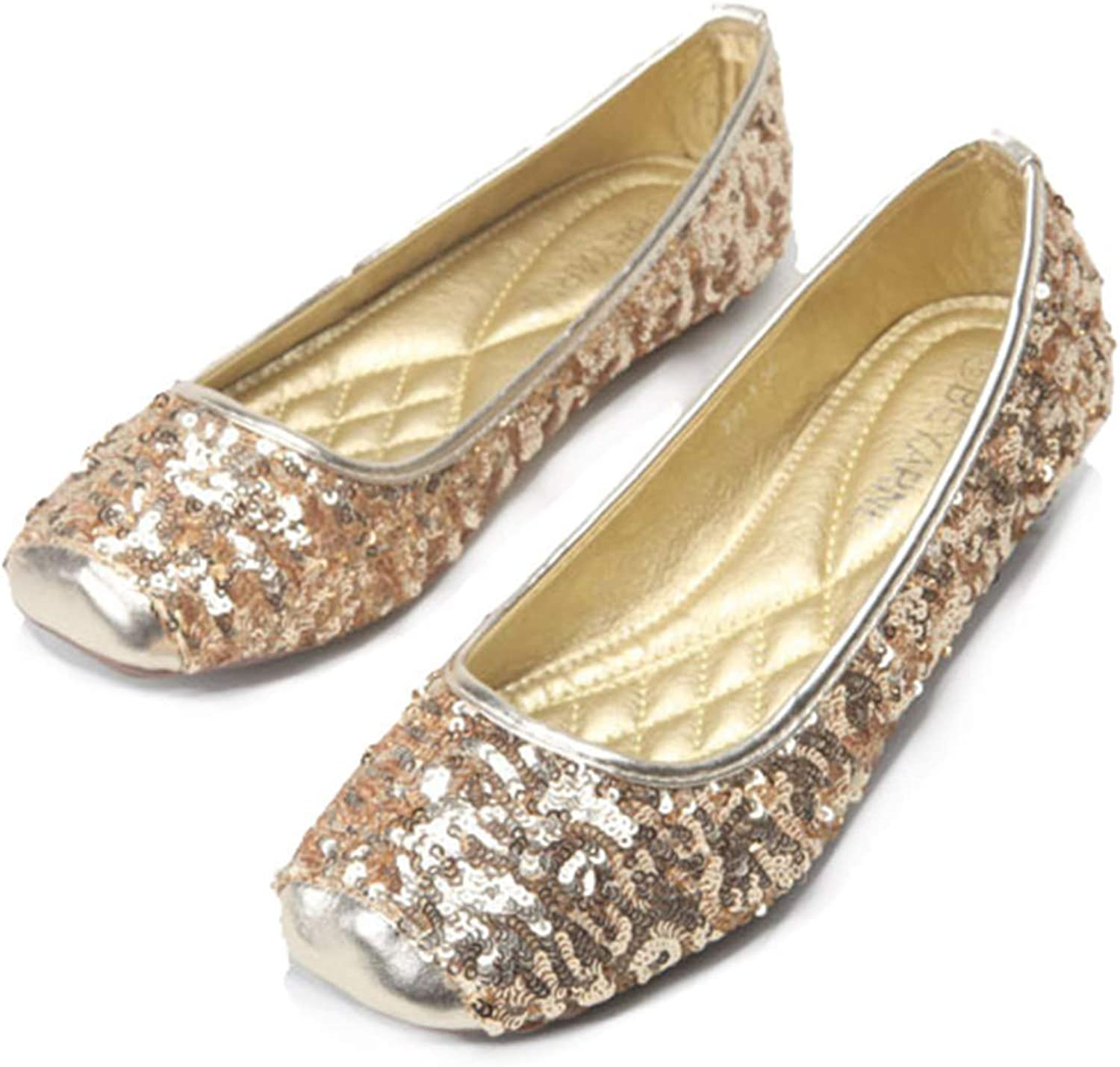 Women gold Flats, Classic Giliter Slip-On Round Toe Shallow shoes