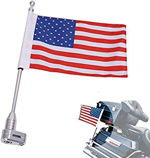 E-Most Motorcycle American Flag + Flag Pole Mount Luggage Rack Vertical for Honda Goldwing GL1800 (2001-2012)