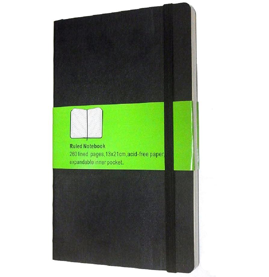 通貨浸す近所のSHOMTY? モレスキン風 おしゃれノート クラシック ソフト 横罫 ラージ Black