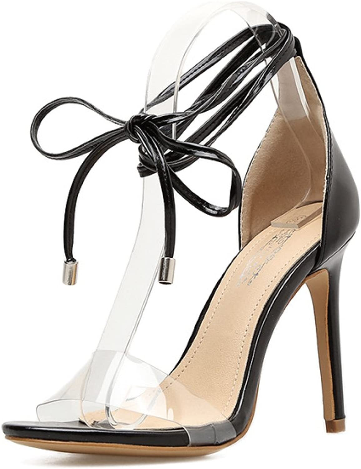 Women's High Heel Lace Up Summer Ankle Strap Sandals Ladies Tie Up Party Wedding Prom shoes,Black-EU 39=8.5B(M) US