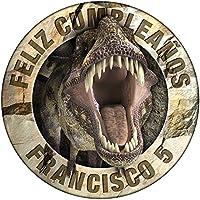 OBLEA de Papel de azúcar Personalizada, 19 cm, diseño de Dinosaurio T-Rex