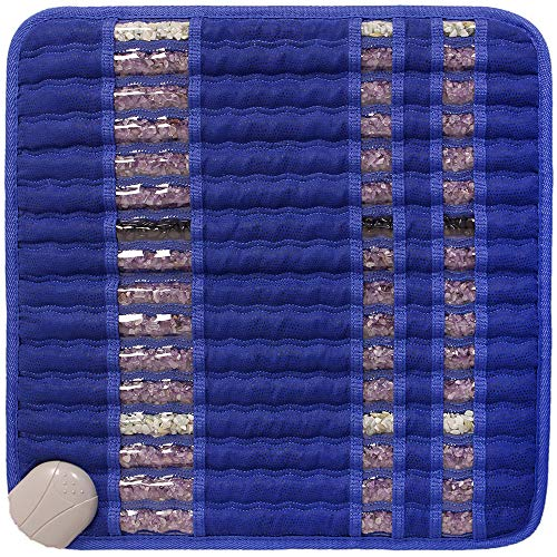 "GemsMat - Isabella- Far Infrared Amethyst Jade Obsidian Crystal Stone Blue Mat (18""L x 18""W) - Negative Ion - FIR Therapy -FDA Registered Manufacturer - Adjustable Timer & Temperature - Heating Pad"