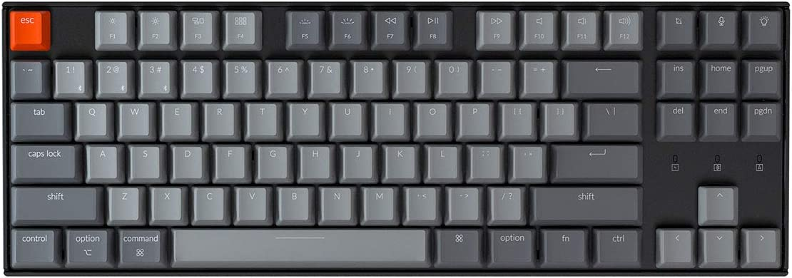 Keychron K8 Tenkeyless Wireless Mechanical Keyboard for Mac, Hot-swappable White Backlight, Bluetooth, Multitasking, Type-C Wired Gaming Keyboard for Windows with Gateron Blue Switch