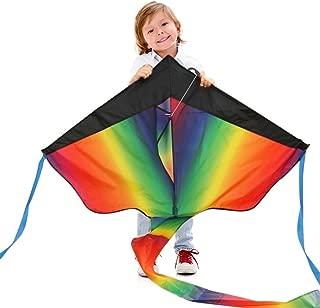カラフルスカイカイト 三角凧 簡単に揚げられる 大人も子供にも最適!アウトドアタコ 凧糸とハンドル付き...