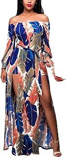 Women's E-Scenery Boho Feather Print Long Maxi Dress Evening Beach Dressundress