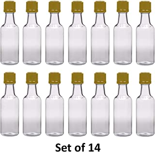 50 ml (1.7 Oz.) Premium Quality Round PET clear small plastic bottle with GOLD temper evident caps, Food Grade (14 Pack)