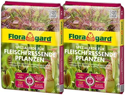 Floragard Spezialerde für fleischfressende Pflanzen 2x3L - Carnivorenerde - Spezialerde zum Topfen und Umtopfen - für Sonnentau, Venusfliegenfallen und andere anspruchsvolle fleischfressende Pflanzen