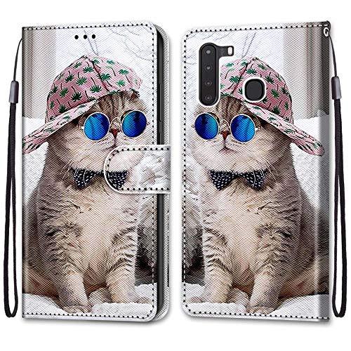 Nadoli Handyhülle Leder für Samsung Galaxy A21,Bunt Bemalt Brille Katze Trageschlaufe Kartenfach Magnet Ständer Schutzhülle Brieftasche Ledertasche Tasche Etui
