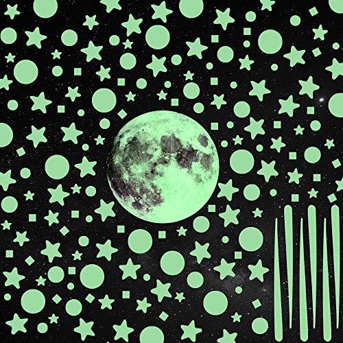 GOLDGE 1101pcs Luminoso Pegatinas Pared Fluorescentes Decoración de la Habitación, Luna Estrellas Puntos Pegatinas de Pared Para DIY Decoración de la Habitación para un Techo o Pared