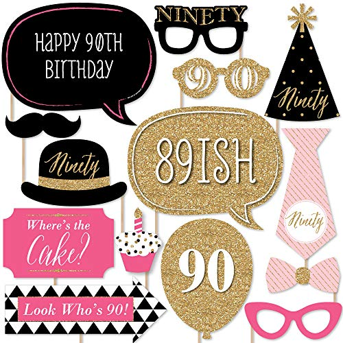 Big Dot of Happiness Chic 90th Birthday - Pink, Black Gold - Birthday Party Photo Booth Props Kit - 20 Count