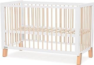 Kinderkraft Kinderbett LUNKY, Babybett aus Holz, Gitterbett, 3 Stufen Höhenverstellbar, skandinavisches Design, 120 x 60 cm, Weiß