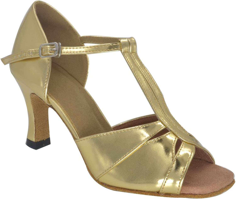 Misu Women's Peep Toe Sandals Latin Salsa Tango Practice Ballroom Dance shoes with 3.0  Heel gold