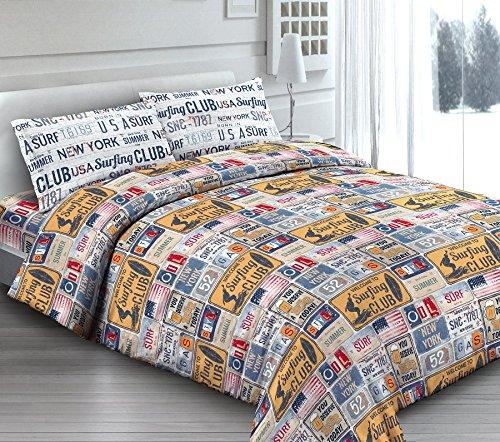 Juego de sábanas de 1 plaza y media, vintage, color gris y amarillo, con texto en inglés