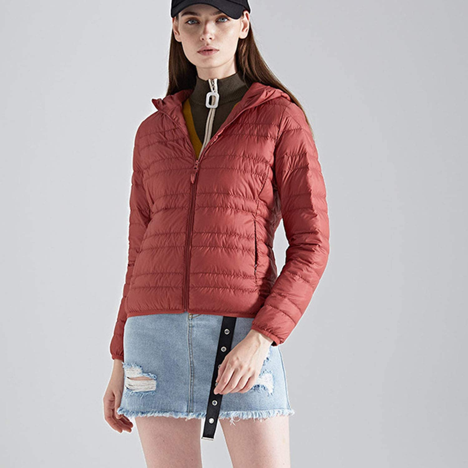 YXXHM- Lightweight Down Jacket, Women's Hooded Short Section, Ladies And Women's Style, Autumn And Winter Wear, Women's Jacket