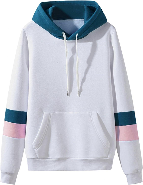 Hoodies for Men BlockColor Cozy Fashion Mens Athletic Hoodies Loose Long Sleeve Pullover Sports Sweatshirt Coats