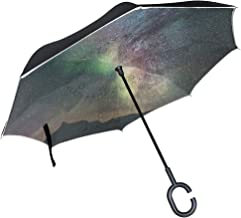 Reverse Umbrella Night Stars Windproof Double Layer Inverted Umbrella Anti-UV Protection with C-Shaped Handle for Car Outdoor Use