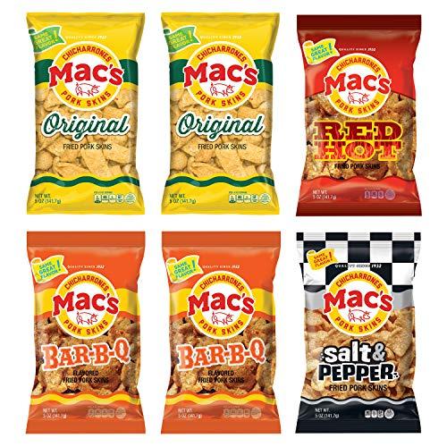 Mac's Pork Skin Variety Pack, Zero Carb Snacks, 6 Pack of 5 Oz. Bags