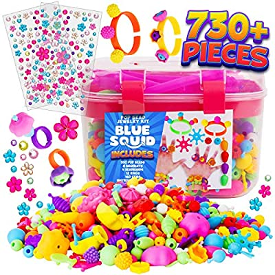 Snap Pop Beads for Girls – 720pcs Kids Jewelry Making Kit by Blue Squid, Pop-Bead Art and Craft Kit DIY Necklace Hairband Bracelet Ring Earring Toys for Age 3 4 5 6 7 8 Year Old Girl Gifts Toy Set