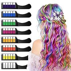 XIMU Haarkreide 8 Farbe Haarkreide für Mädchen,Haarkreide Kinder, Sicher und Harmlos mit Schutzhülle, Geeignet für Kinder ab 3 Jahren, Geburtstagsfeier für Erwachsene, Feste, Partys, Rollenspiele