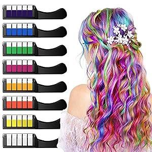 XIMU Tiza para el cabello, Tintes capilares con tiza Pluma de tinte temporal para el cabello de destello metálico No tóxico Lavable Pastel de pelo para niños y niñas (8 Colors)