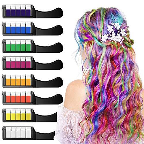 XIMU Haarkreide 8 Farbe, Haar Colorationen, Temporäre Haarfarbe, Sicher und Harmlos mit Schutzhülle, Geeignet für Kinder ab 3 Jahren, Geburtstagsfeier für Mädchen Kinder, Feste, Partys, Rollenspiele