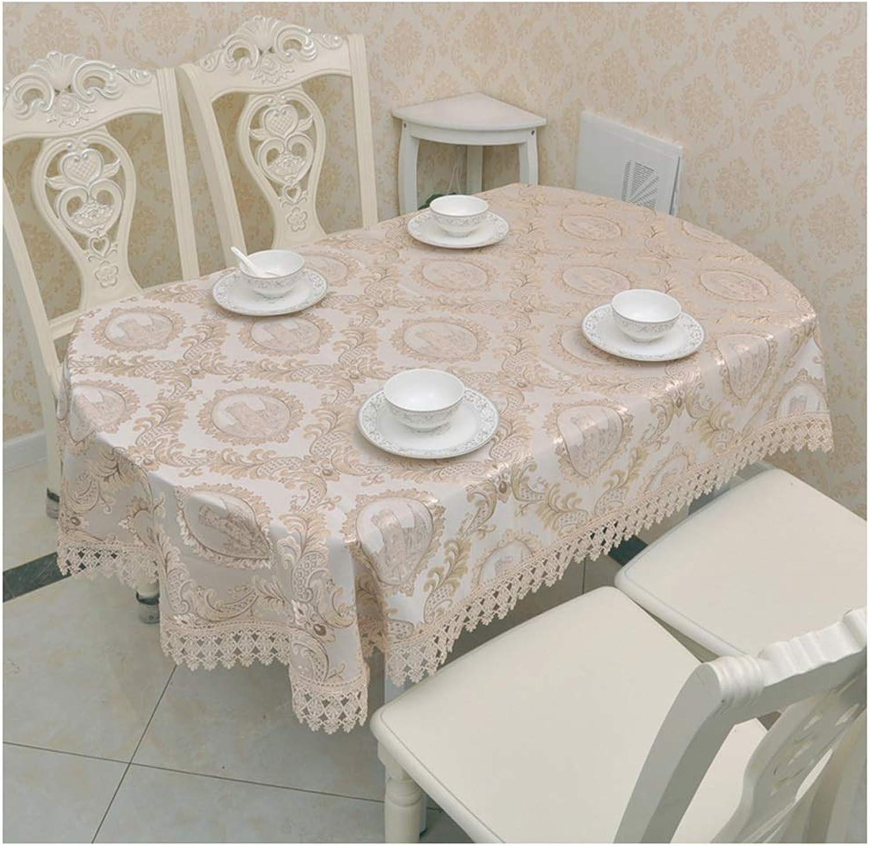 Qiao jin &Manteles Mantel - Mesa de Comedor Ovalada Home European Style Mantel Plegable telescópico Mantel (Color   B, Tamaño   130  180cm)