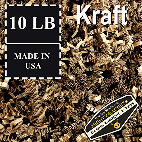 Mighty Gadget Brand 10 LB Value Pack Crinkle Cut Paper Shred Filler for Packing and Filling Gift Baskets, Gift Boxes Natural Craft Bedding in Brown Kraft (10 LB)