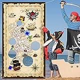 Blulu Juego Pirate Bean Bag Toss Juegos Pirate Treasure Hunt Toss con 3 Bolsas de Frijoles, Decoraciones y Suministros para Fiestas Temáticas Piratas