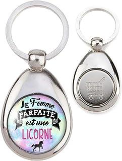 Leisial Femmes Porte-cl/és Licorne Violet Color/é Alliage Sac /à Dos Porte Cl/és avec Pompom Pendentif Porte-Cl/és D/écoration(1)