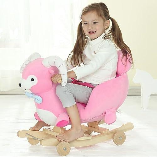 QXMEI Baby Spielzeug Geschenk Massivholz Musik Kinder Schaukelstuhl 2 In 1 Schaukelpferd 1-4 Jahre Alt