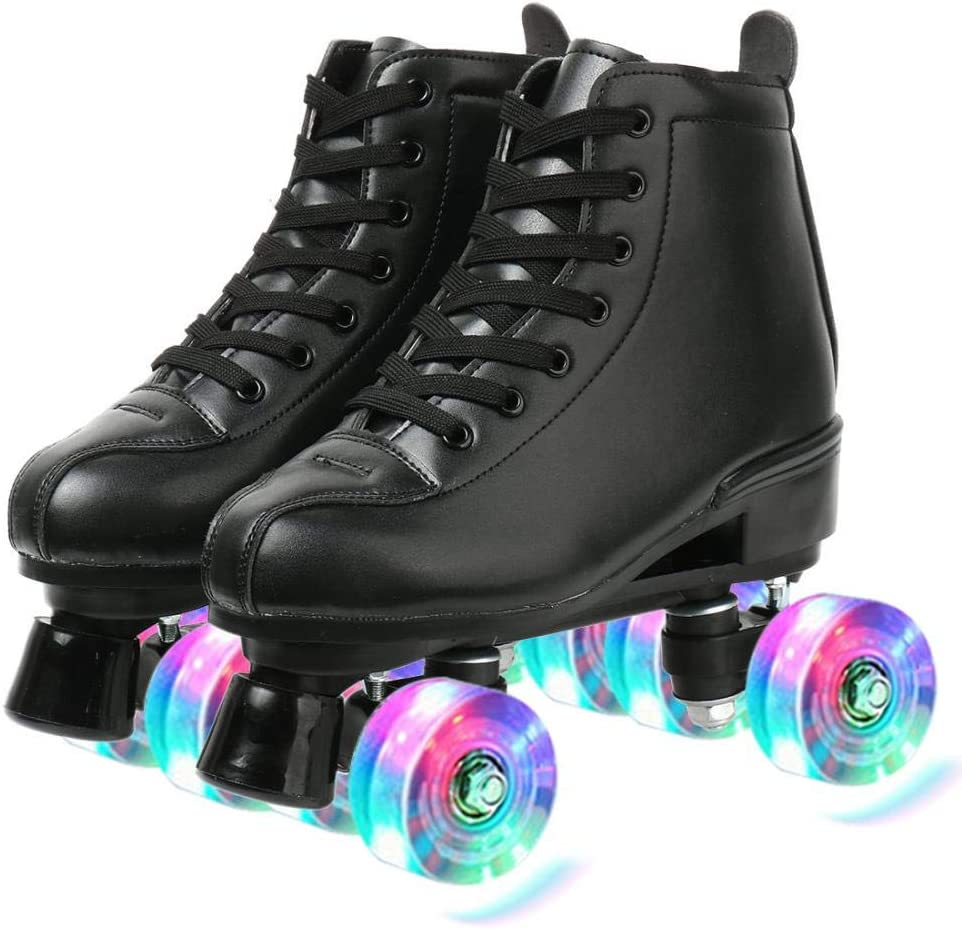 Womens Roller Skates Classic High-top Roller Skates Four-Wheel Roller Skates Shiny Roller Skates for Women Teens Youth Boys Girls with Shoes Bag