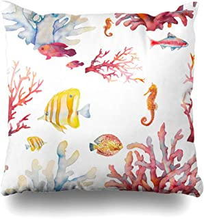 Kutita Decorative pillows Covers 20 x 20 inch Throw Pillow Covers,Watercolor Coral Reef Hand Underwater Life Tropical Pattern Double-Sided Decorative Home Decor Pillowcase Sofa Bedroom Car