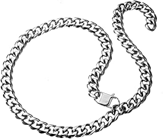 Cuban Link Chain Adjustable Choker Stainless Steel Necklace with Tail Hip Hop 15mm Curb Rapper Necklace for Men 26 inch