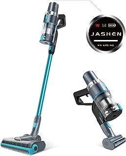 JASHEN Aspirador sin Cable, 350W Motor Digital Brushless 2500mAh Batería Extraíble de Ion-Litio 40 Minutos,LED Pantalla Inteligente, 3 Velocidades con Cepillo de Mascota (Azúl V18)