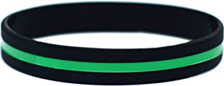 SayitBands Thin Green Line Silicone Wristband Bracelets Awareness Support