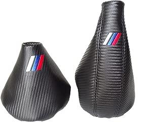For Bmw E36 E46 1991-2005 Shift & E brake Boot Black Leather Carbon Look M3 /// Embroidery