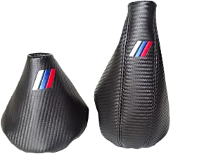 The Tuning-Shop Ltd for BMW E36 E46 1991-2005 Shift & E Brake Boot Black Leather Carbon Look M3 /// Embroidery