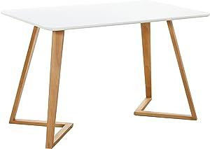 P&N Homewares® Halo tavolo da pranzo rettangolare, design contemporaneo e moderno, gambe in legno massello Dallas White