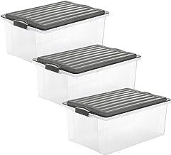 Rotho, Compact, Set van 3 opbergboxen 38l met deksel, Kunststof (PP) BPA-vrij, antraciet/transparant, 3 x A3/38l (57,5 x 4...