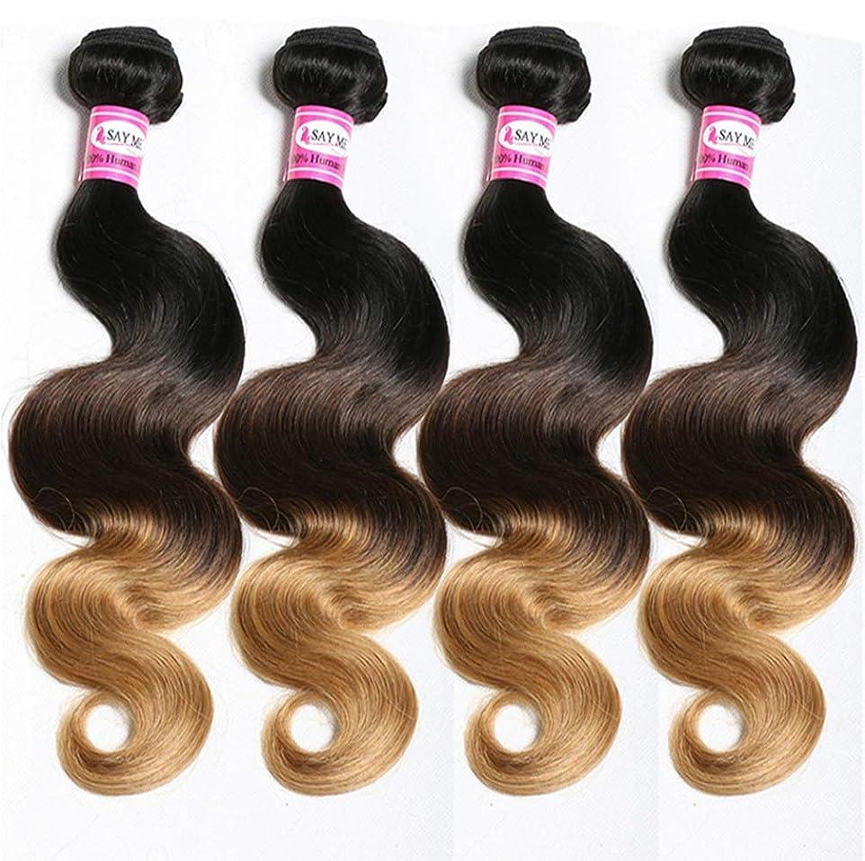 エスカレート魂国際女性ブラジルバージンヘアボディウェーブオンブルバンドルボディウェーブ人間の髪の毛バンドル(3バンドル)