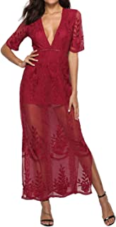 Womens Sexy V-Neck Short Sleeve Long Dress Lace Romper Maxi Beach Dress