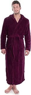 Verabella Women Men's Long Plush Fleece Robe with Hood, Solid Color Bathrobe