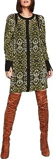 BCBG Max Azria Womens Chiffon Printed Shift Dress Black XS