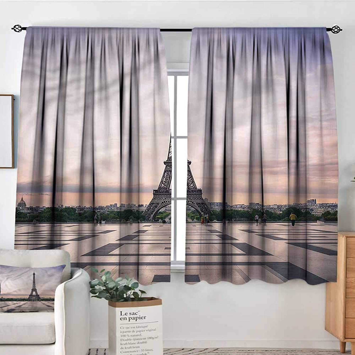 Anzhutwelve Paris,Outdoor Curtains Trocadero and Eiffel Tower 42 X45  Print Picture Drapes for Iving Room