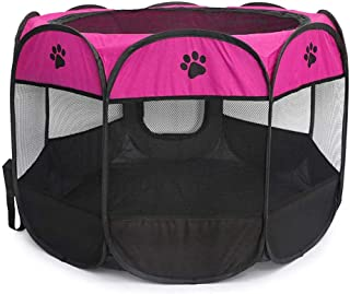 Octagonal Pet Tent Foldable Dog and Cat Fence, Puppy Exercise Playpen, Portable Cat and Dog House, Rabbit Cat Kennel, Ros...