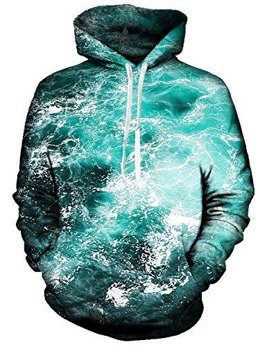 Idgreatim Adolescenti 3D Ocean Bliss Stampato Drawstring Big Tasche Felpa con Cappuccio Medium